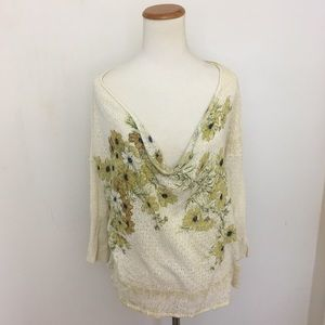 Anthropologie Guinevere Floral Draped Sweater